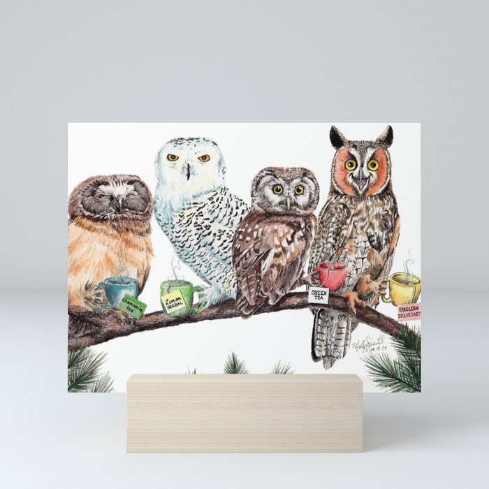 Tea owls , funny owl tea time painting by Holly Simental Mini Art Print