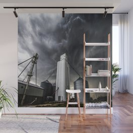 Skyscraper - Storm Over Grain Elevator in Kansas Town Wall Mural
