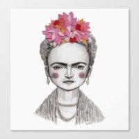 frida kahlo Canvas Prints featuring Frida Kahlo by Maripili