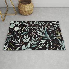 Black Eucalyptus Pattern Rug