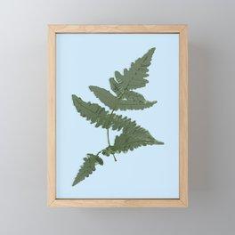 Fern Illustration Blue Framed Mini Art Print