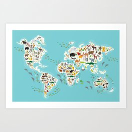 Cartoon animal world map for children and kids, Animals from all over the world Art Print