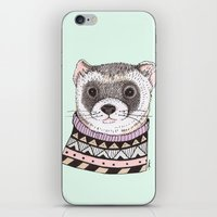 ferret iPhone & iPod Skins featuring Hipster Ferret by Indi Maverick
