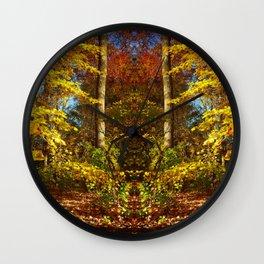Fall's Golden Moments, an October vignette Wall Clock