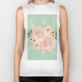 Wild Roses on Pastel Cactus Green Biker Tank