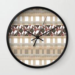 Boho . Beige woven textiles . Wall Clock