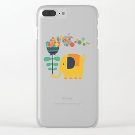 Elephant with giant flower Clear iPhone Case
