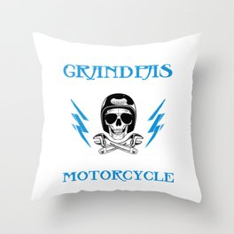 Motorbike Bicycle Drive Ride Vehicle Collection Grandpas Play Bingo Ride Motorcycle Skull Design Throw Pillow
