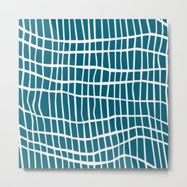 Net White on Blue Metal Print