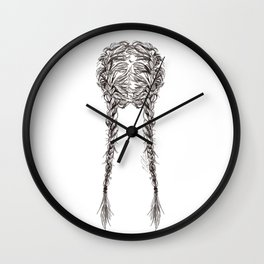 Parted French Braids Wall Clock
