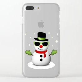 Cool Snowman with Shades and Adorable Smirk Clear iPhone Case