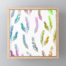 Rainbow Colored Feather Pattern Framed Mini Art Print