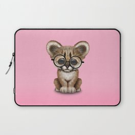 Cute Cougar Cub Wearing Reading Glasses on Pink Laptop Sleeve