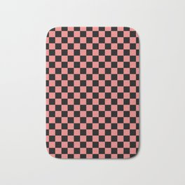 Black and Coral Pink Checkerboard Bath Mat