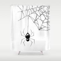 spider Shower Curtains featuring Spider by Chrystal Elizabeth