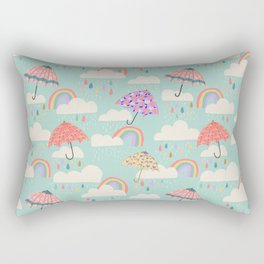 Happy Spring Showers - Aqua Rectangular Pillow
