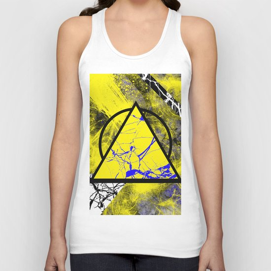 Night And Day - Blue And Yellow, Black And White, Abstract, Geometric, Marble Artwork Unisex Tank Top