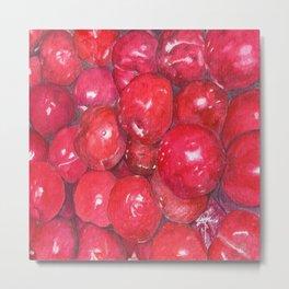 A basketful of plums Metal Print