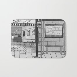 London Coffee Shop in Black and White Bath Mat