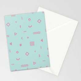 Pale Blue and pink geometric shapes pattern Stationery Cards