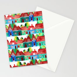 Watercolor houses Stationery Cards