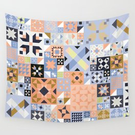 Peach and Lavender Quilt Wall Tapestry