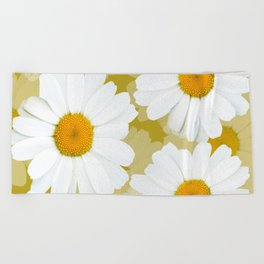 Bunch of White Daisies Olive Color Background #decor #society6 #buyart Beach Towel