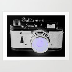 VinTage CaMera Black & White + Lavender Art Print