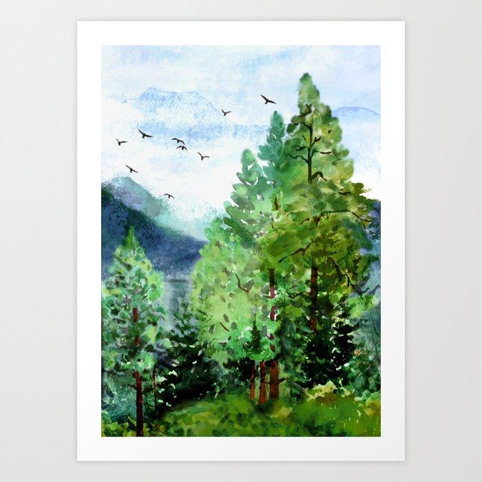 Mountain Forest Kunstdrucke