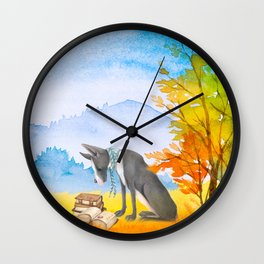 Autumn Dog Wall Clock