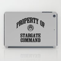 stargate iPad Cases featuring Property of Stargate Command Athletic Wear Black ink by RockatemanDesigns