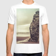 Ocean Beach - Sacred Space by the Sea White MEDIUM Mens Fitted Tee