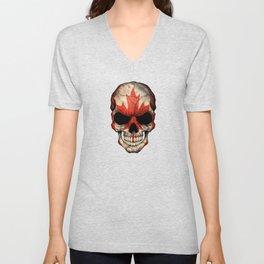 Dark Skull with Flag of Canada Unisex V-Neck