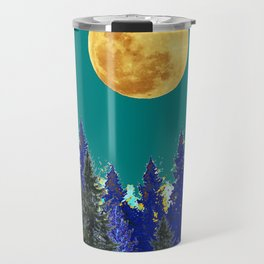 BLUE FOREST TEAL SKY MOON LANDSCAPE ART Travel Mug