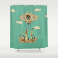 pirates Shower Curtains featuring sky pirates by bri.buckley