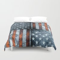 flag Duvet Covers featuring American flag by Bekim ART