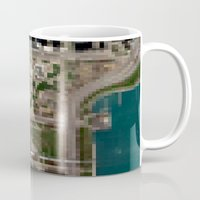 chicago map Mugs featuring Chicago by Mark John Grant