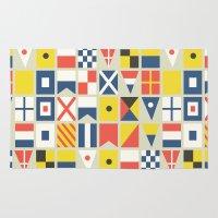flag Area & Throw Rugs featuring Geometric Nautical flag and pennant by Picomodi