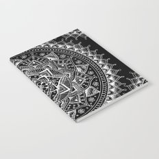 White Flower Mandala on Black Notebook