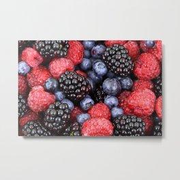 Summer raspberry, blueberry and blackberry berry pattern Metal Print