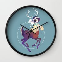 fawn Wall Clocks featuring Fawn by Stephanie Kao