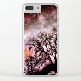 Black Trees Pink Peach Sorbet Space Clear iPhone Case