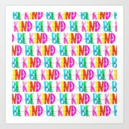 Be Kind Neon Pattern Art Print