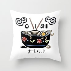 OISHII Noodle Bowl Throw Pillow