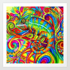 Psychedelizard Psychedelic Chameleon Art Print