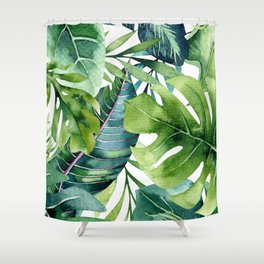 Tropical Jungle Leaves Shower Curtain
