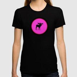 Bull Moose Silhouette - Black on Pink T-shirt