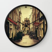 amsterdam Wall Clocks featuring Amsterdam by Pati Designs & Photography