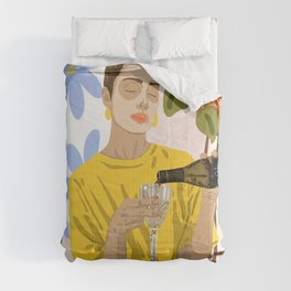 Self Care Illustration, Fashion Woman Wine Self Love, Face Mask Beauty Skin Care Plant Lady Comforters
