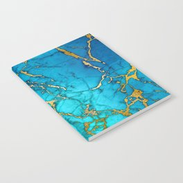 Gold And Teal Blue Indigo Malachite Marble Notebook